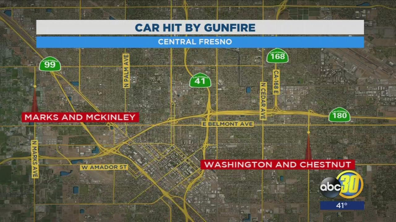 Person in custody after shooting car in Central Fresno