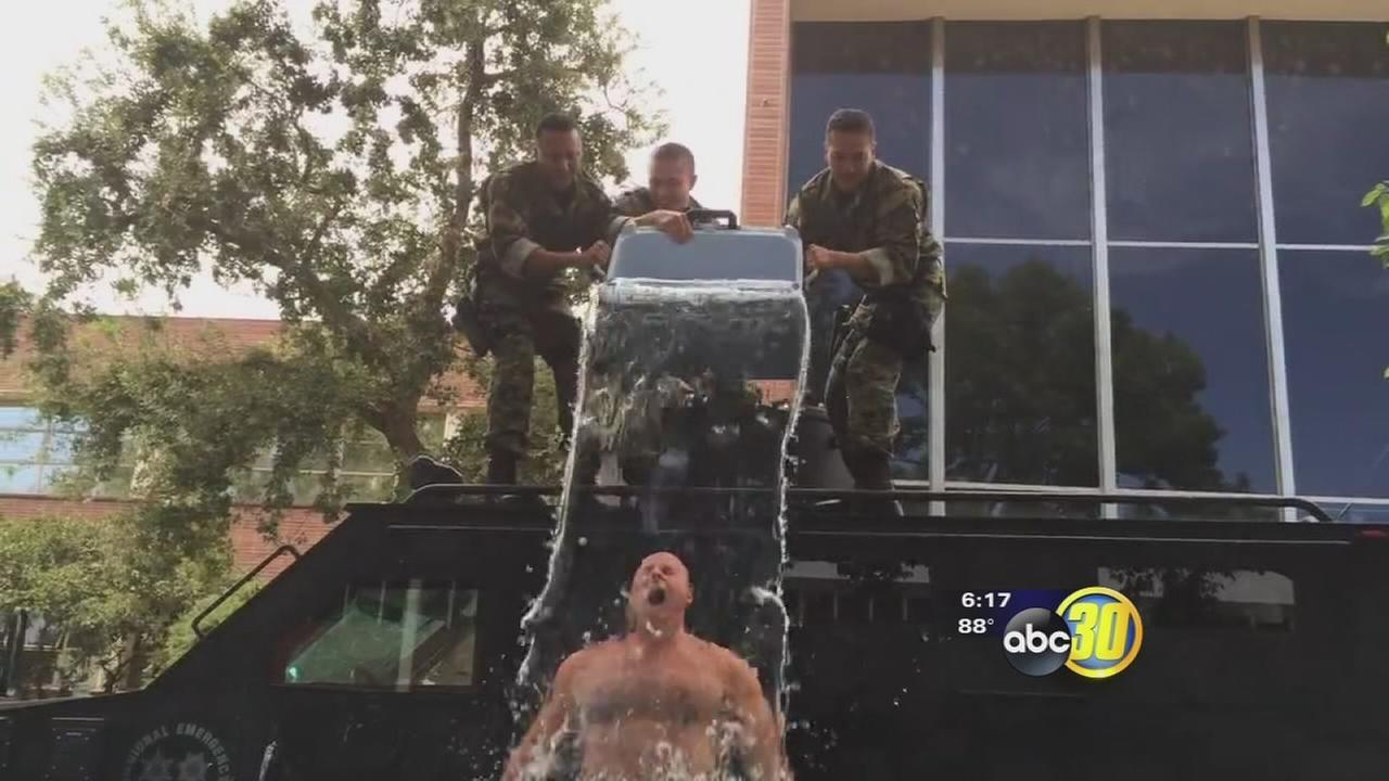 Fresno Police Chief Jerry Dyer takes Ice Bucket Challenge