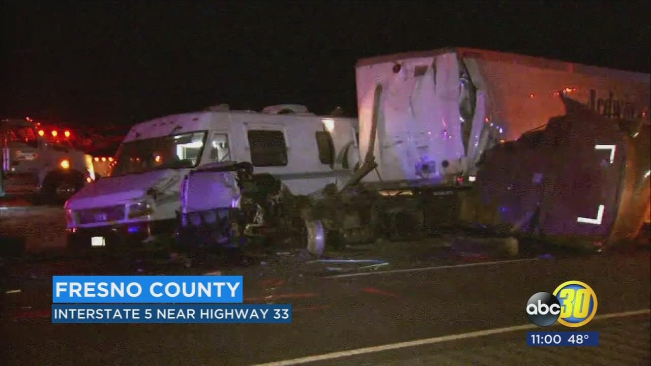 CHP investigating deadly crash on I-5 in Fresno County between 3 big rigs and an RV