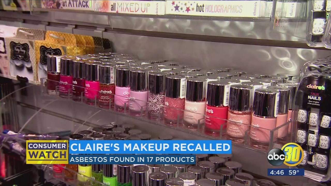 17 products pulled off store shelves at Claires locations around the country