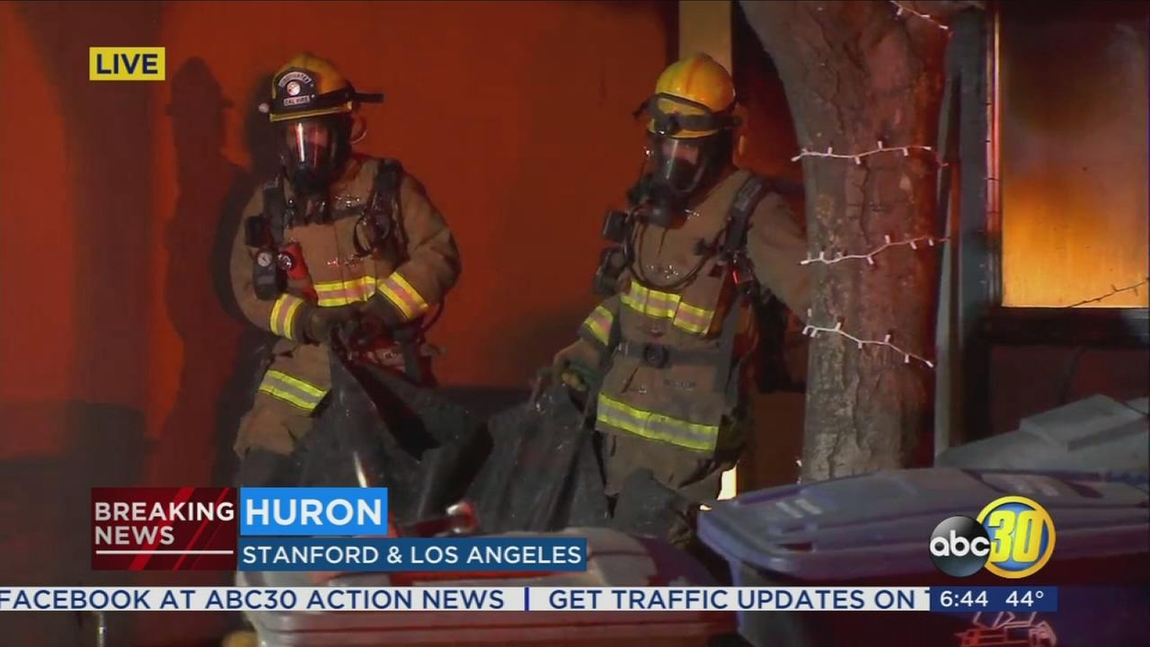Crews battle early morning house fire in Huron