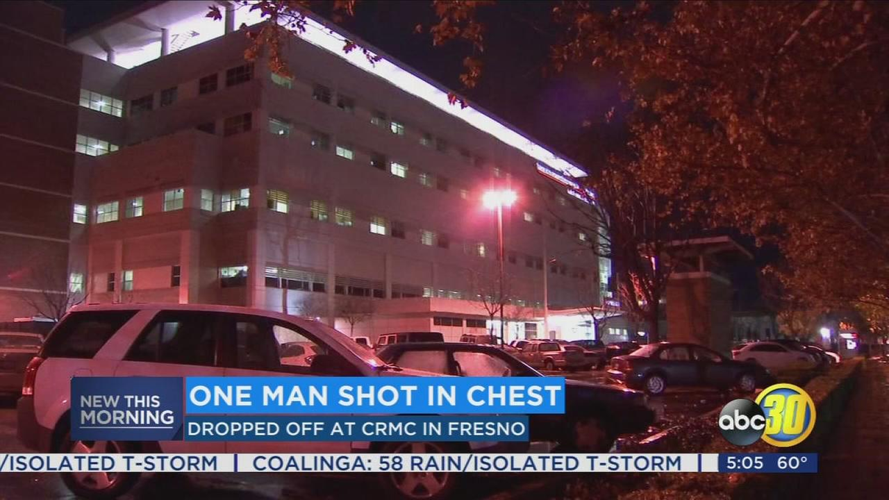 Man in critical condition after showing up to Fresno hospital with gunshot wound to chest