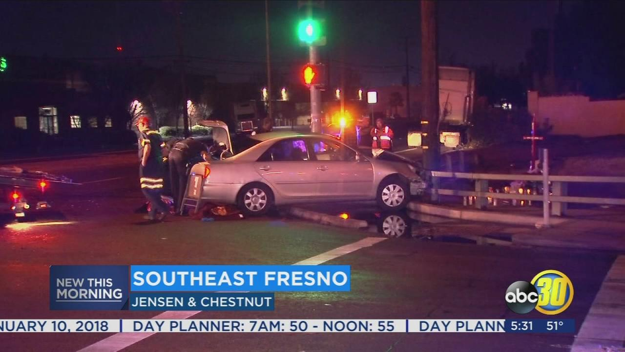 Man arrested after crashing his car into a big rig in Southeast Fresno