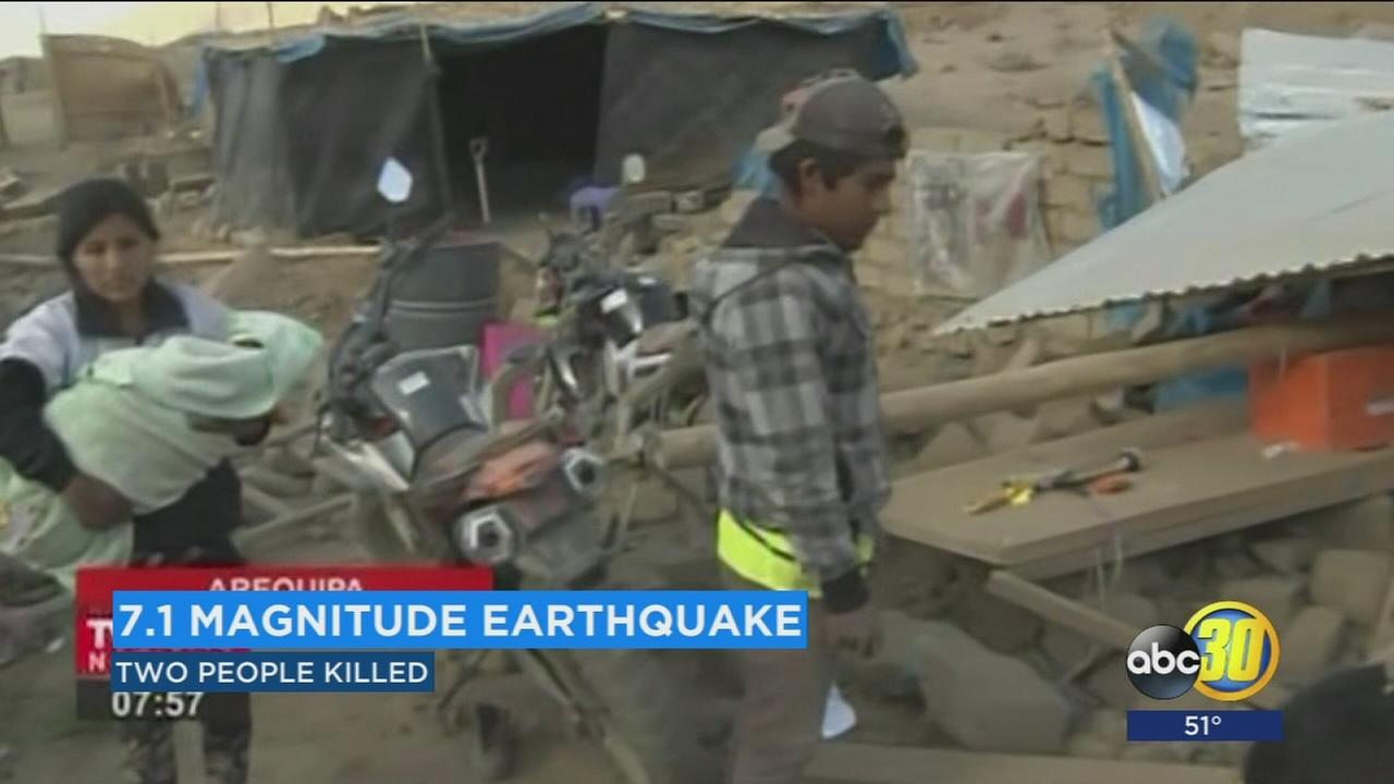 Perus president visits towns hit by deadly 7.1 magnitude earthquake