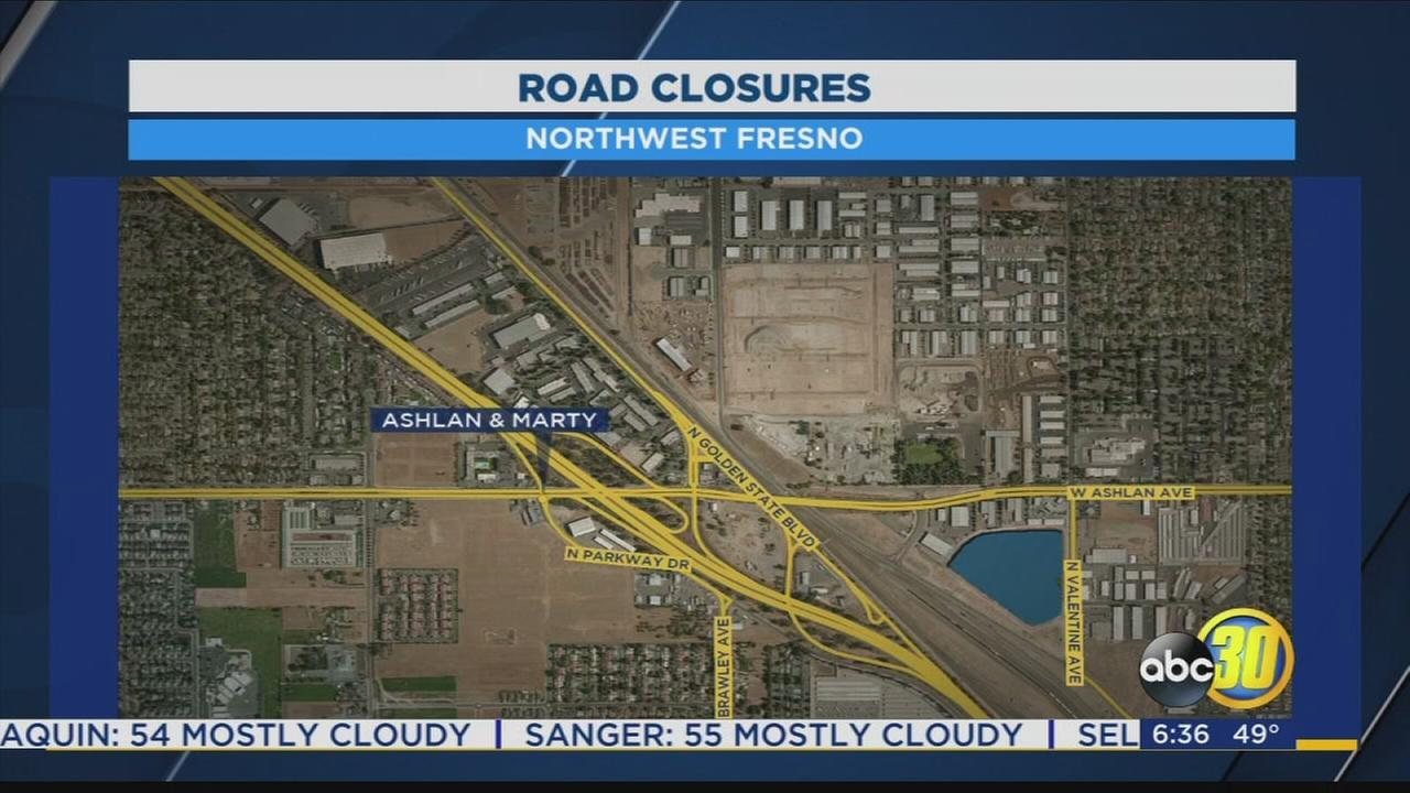 Part of Ashlan in Northwest Fresno closing as part of 99 realignment