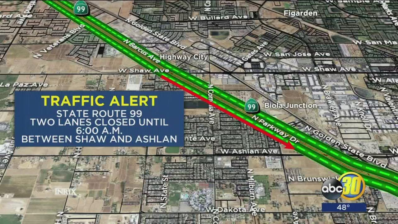 2 lanes of Highway 99 closed in Fresno