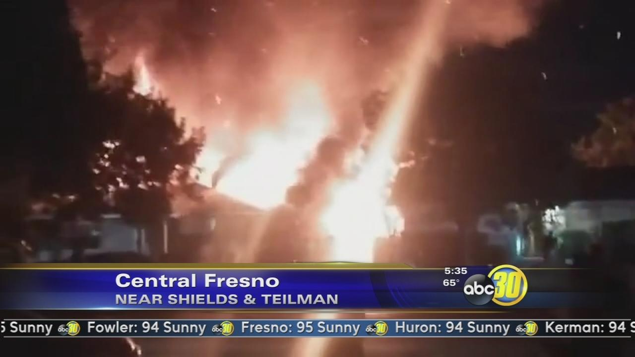 Fire burns home in Central Fresno