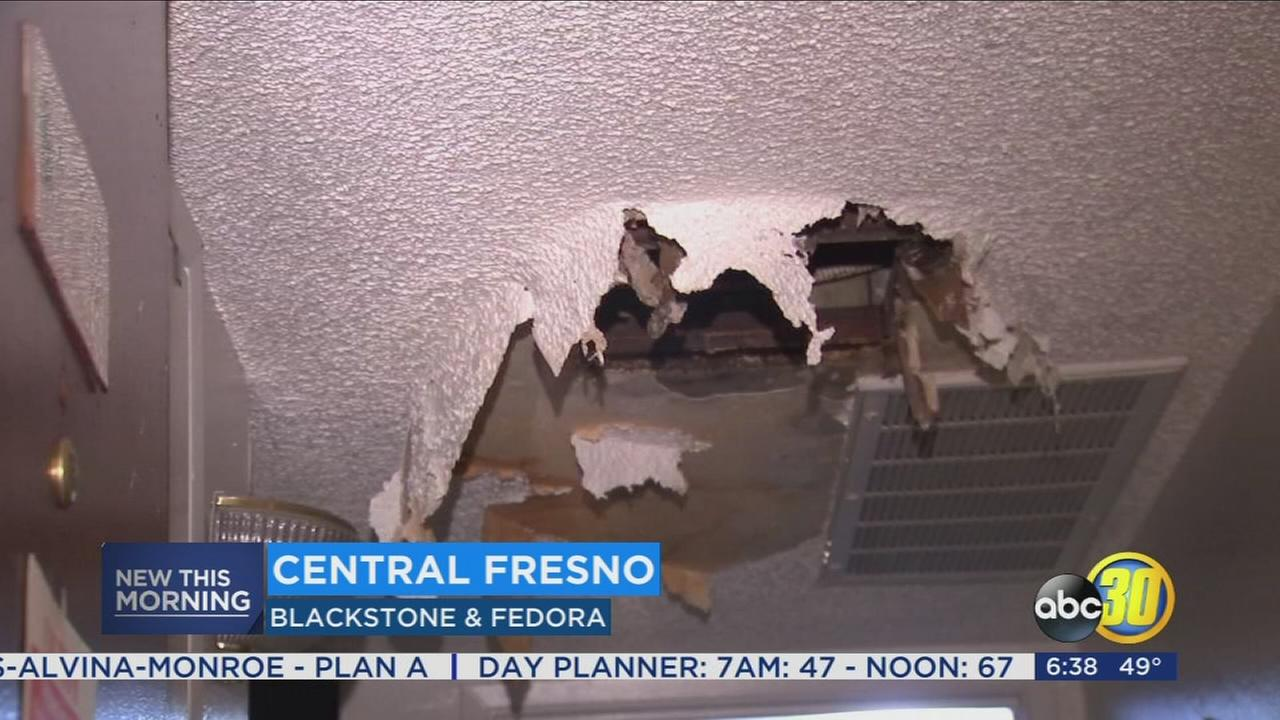 Hot water pipe bursts flooding apartment in Central Fresno