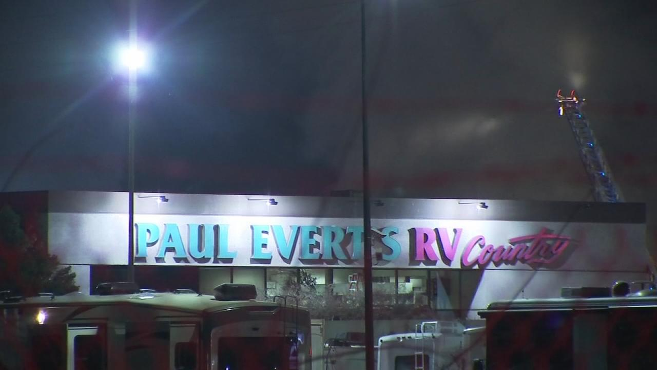 Multimillion-dollar loss, several RVs destroyed by flames and explosions at Paul Everts RV Company