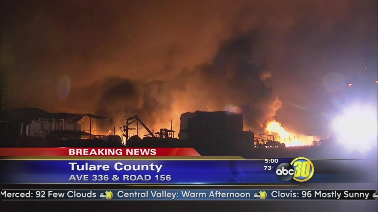 Large fire burning at Phillips Farms in Ivanhoe