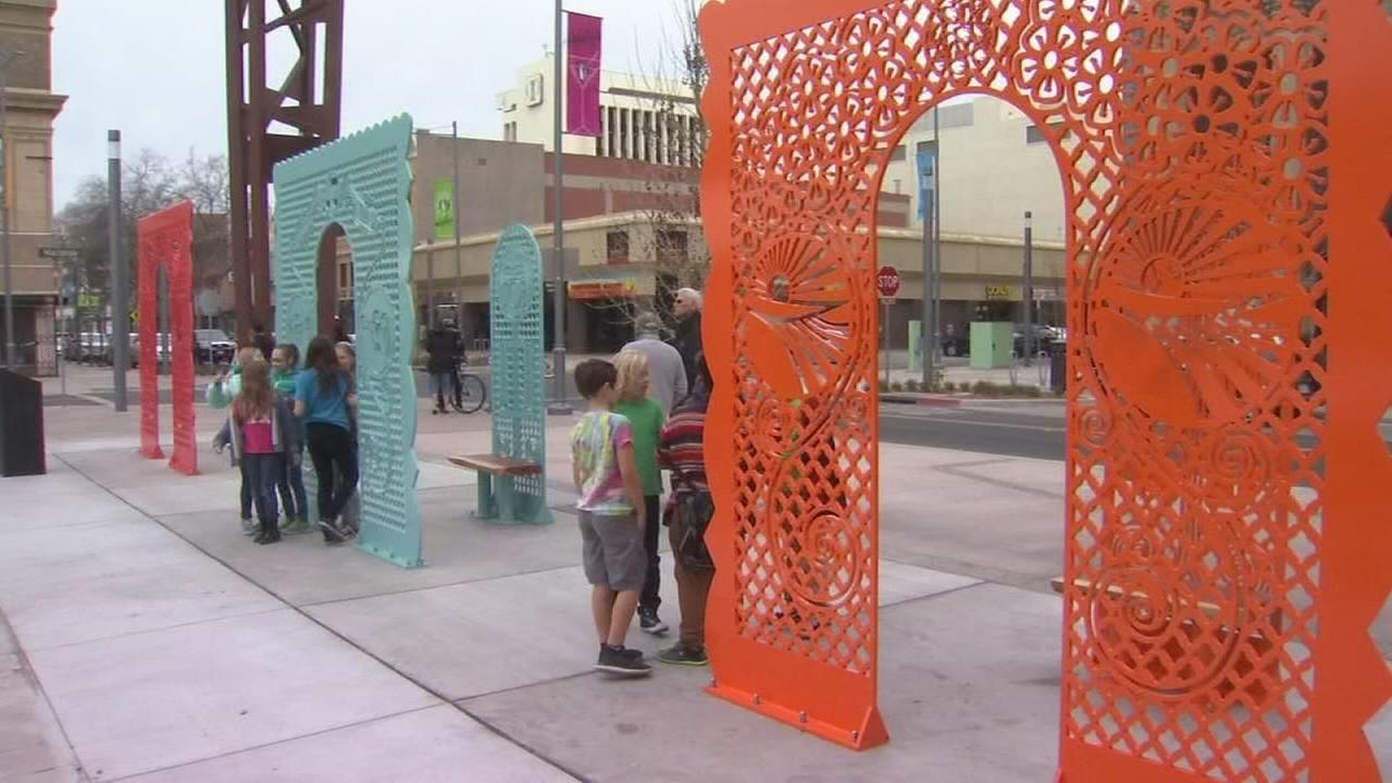 County officials unveil Fulton Street art installation