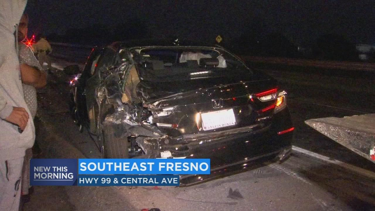 2 men left unhurt after their car was hut by semi-truck in Southeast Fresno