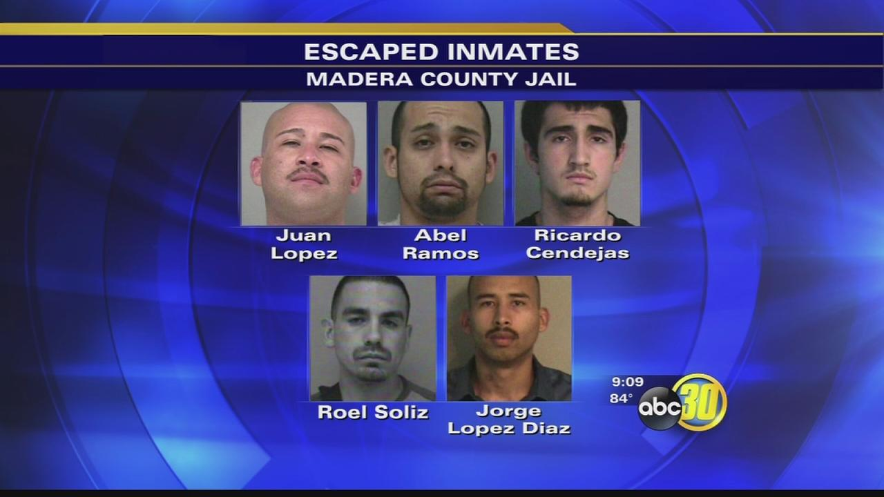 Search underway for 5 escaped Madera County inmates