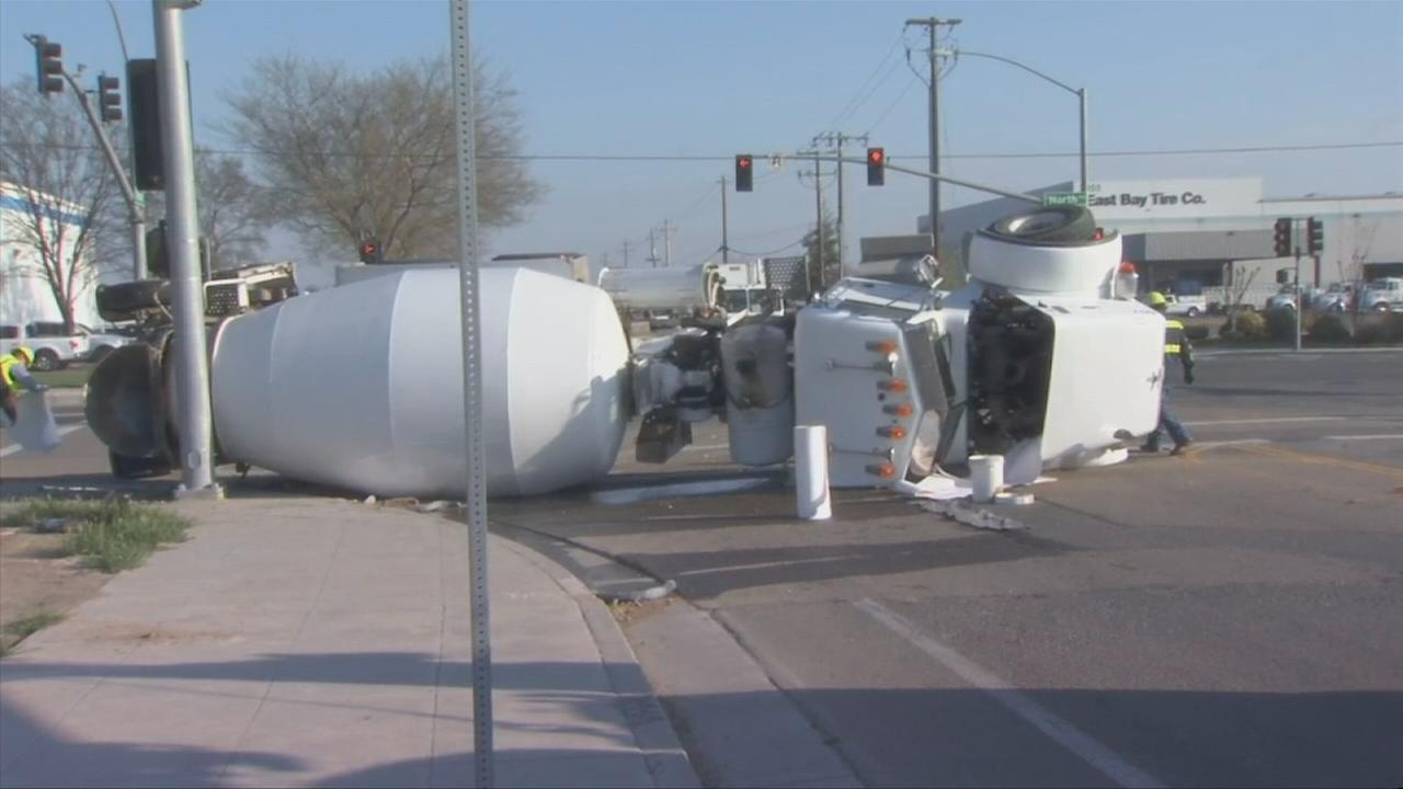 Cement truck overturns in Southwest Fresno