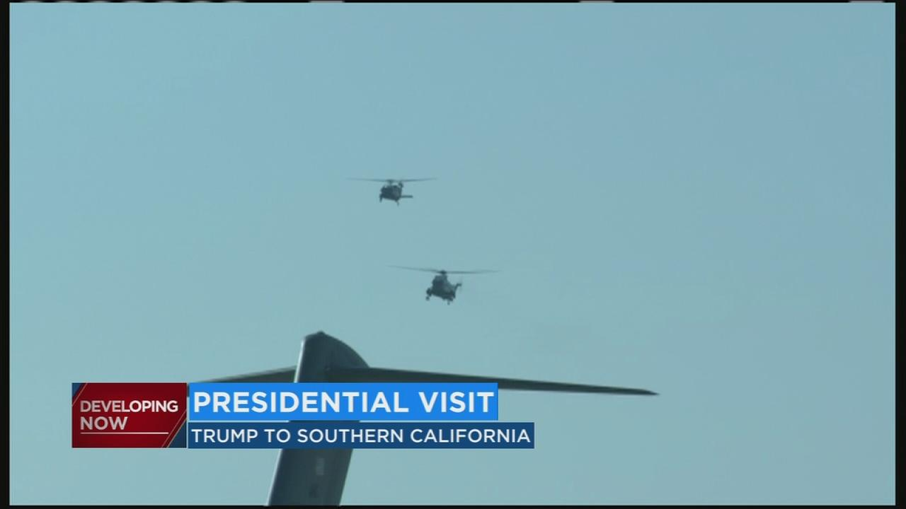 President Trump makes first trip to California as Commander-in-Chief