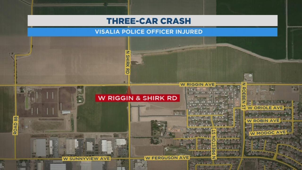 Car crash sends Visalia Police officer to hospital
