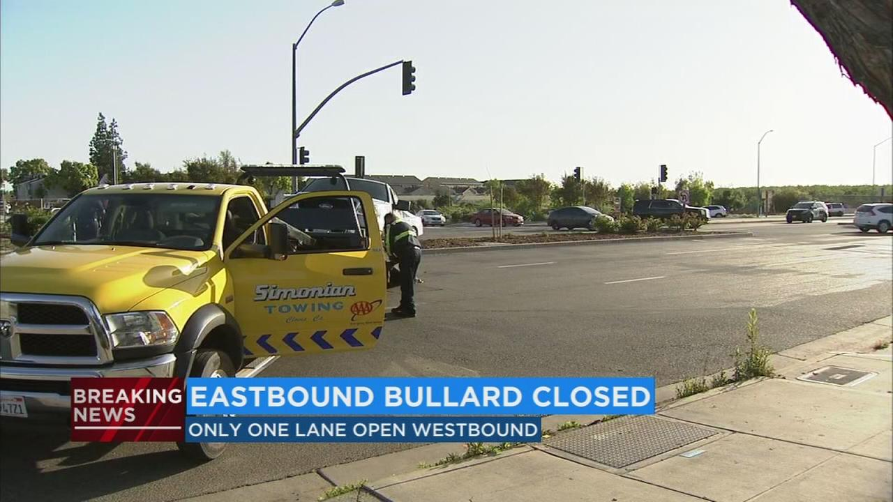 Eastbound lanes of Bullard near Highway 168 closed after a crash involving a stolen vehicle