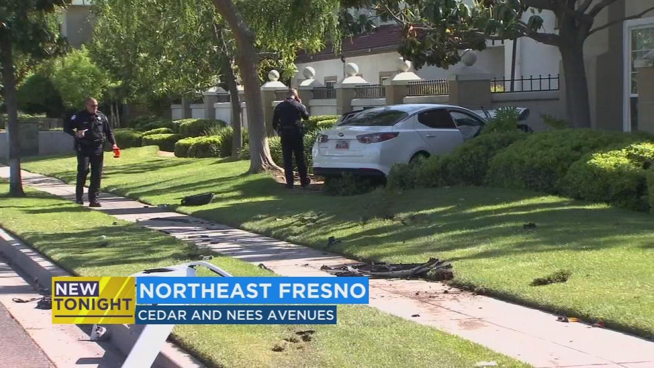 Man crashes into wall in NE Fresno