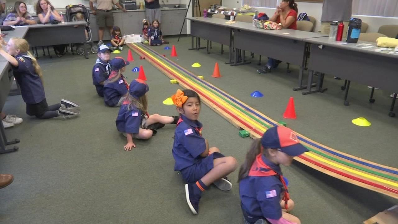 Californias first all-girl Cub Scout pack holds Pinewood Derby in Visalia