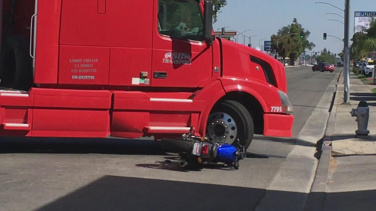 Part of Blackstone in North Fresno reopened after big rig hits a motorcycle