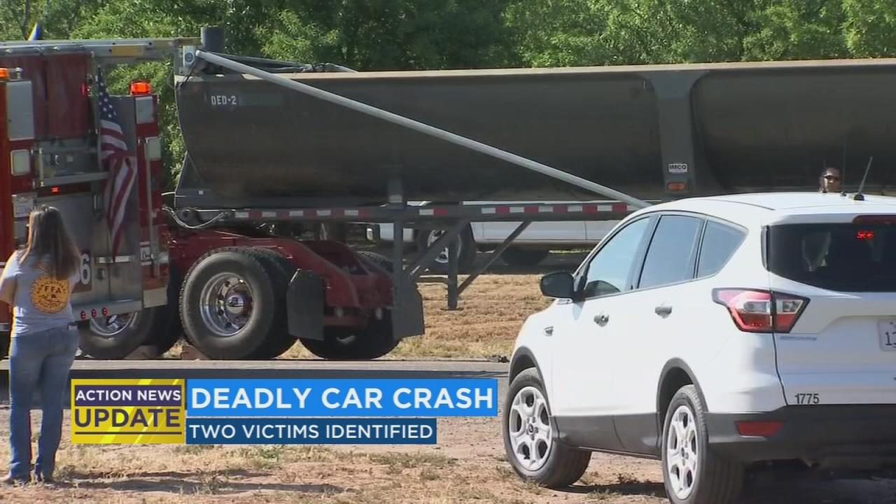Officials release names of sedan and semi-truck crash victims