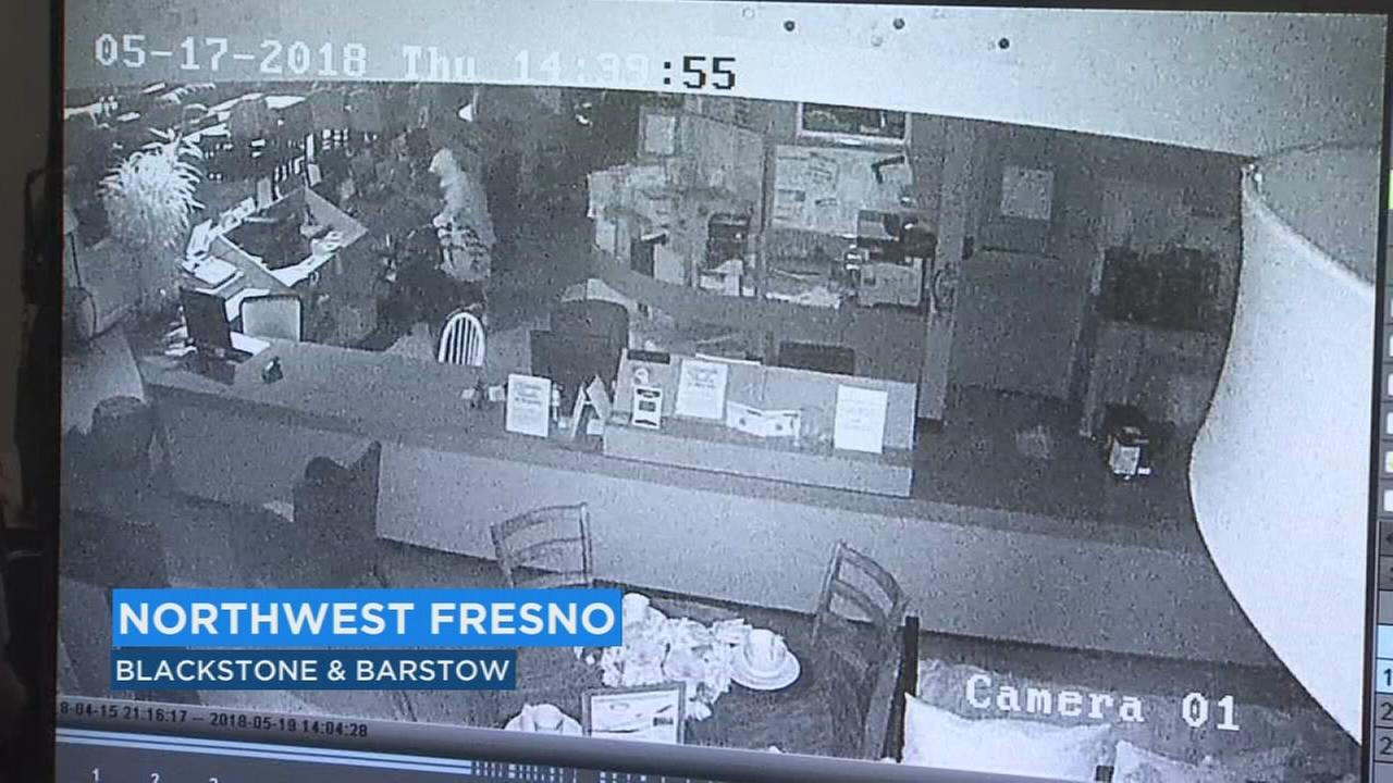 Surveillance footage captures thief breaking into NW Fresno furniture store