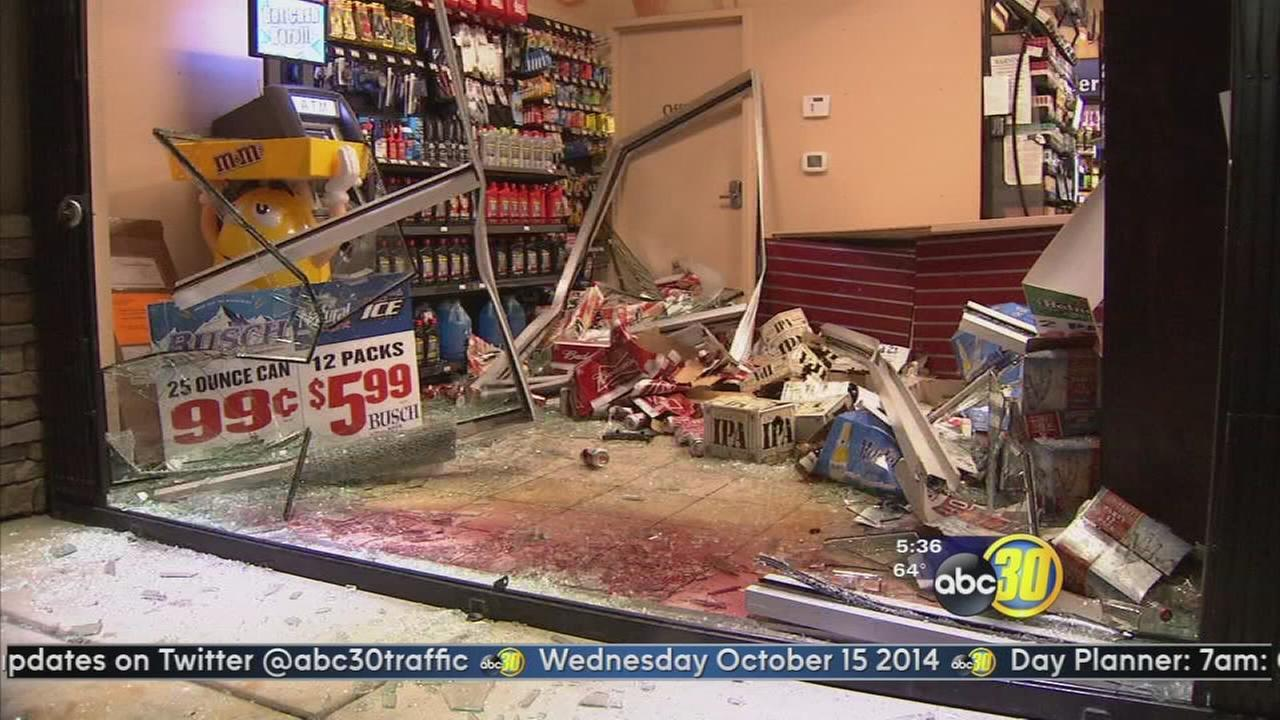 Car drives into convenience store in Fresno