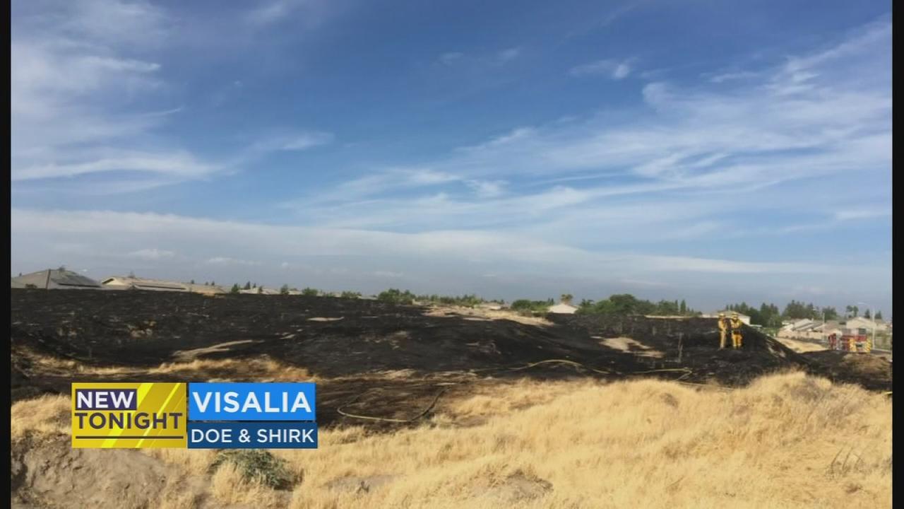 Fireworks blamed for grass fire that burned 5-acres in Visalia