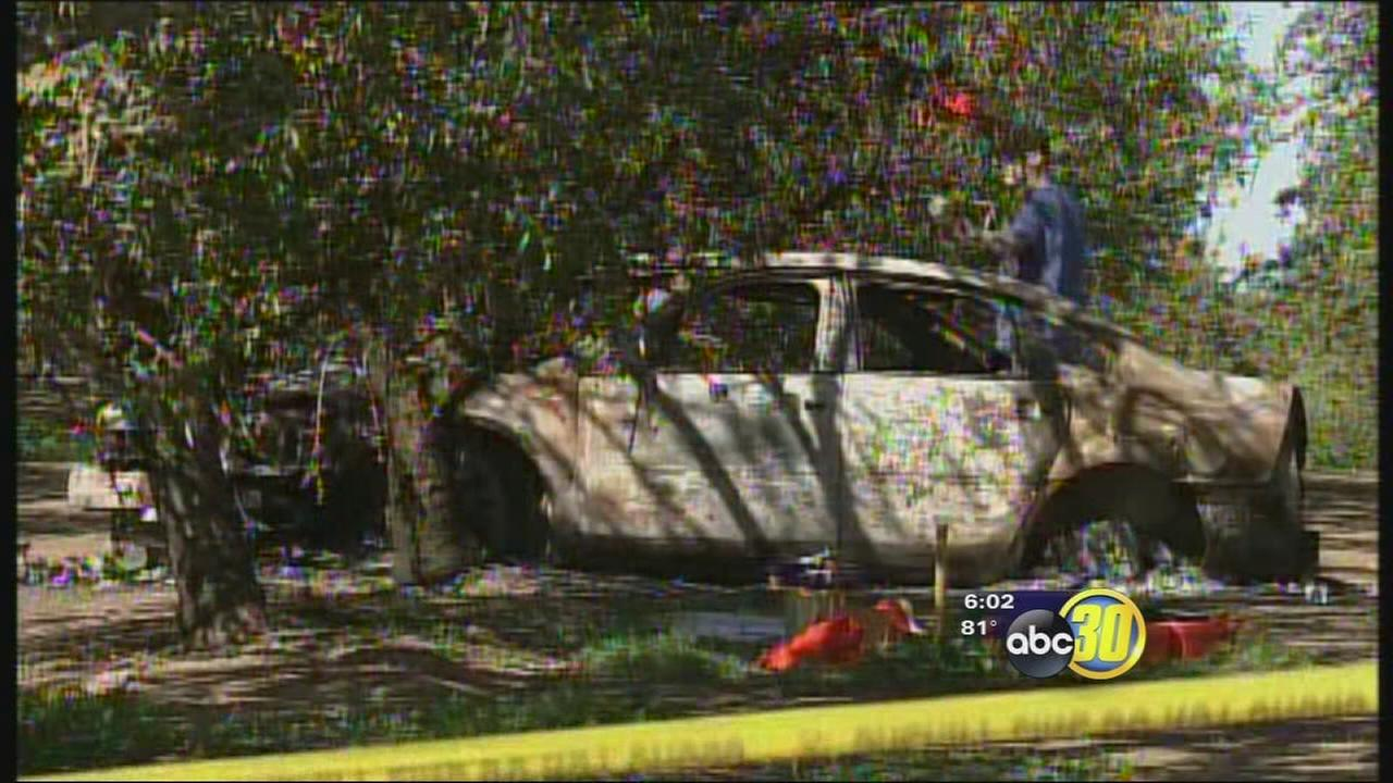 2 bodies discovered in burned car in Merced County