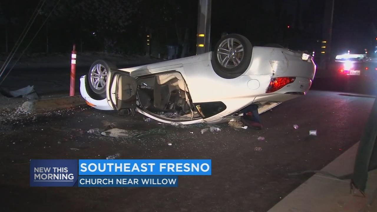 Man in trouble after flipping car in DUI crash in Southeast Fresno