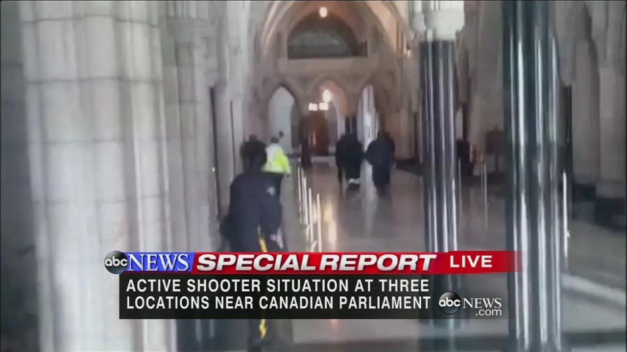 Shots fired inside Canadas Parliament building in Downtown Ottawa