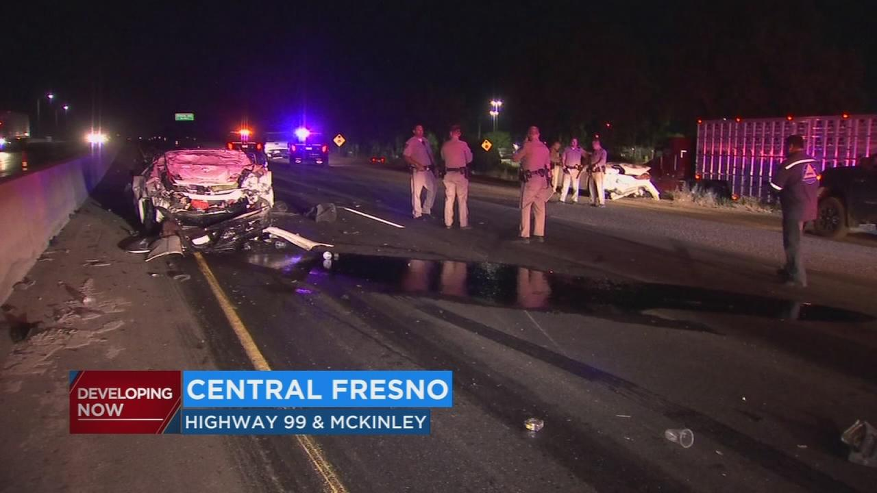 2 injured after several cars crashed near construction site on Highway 99 in Fresno