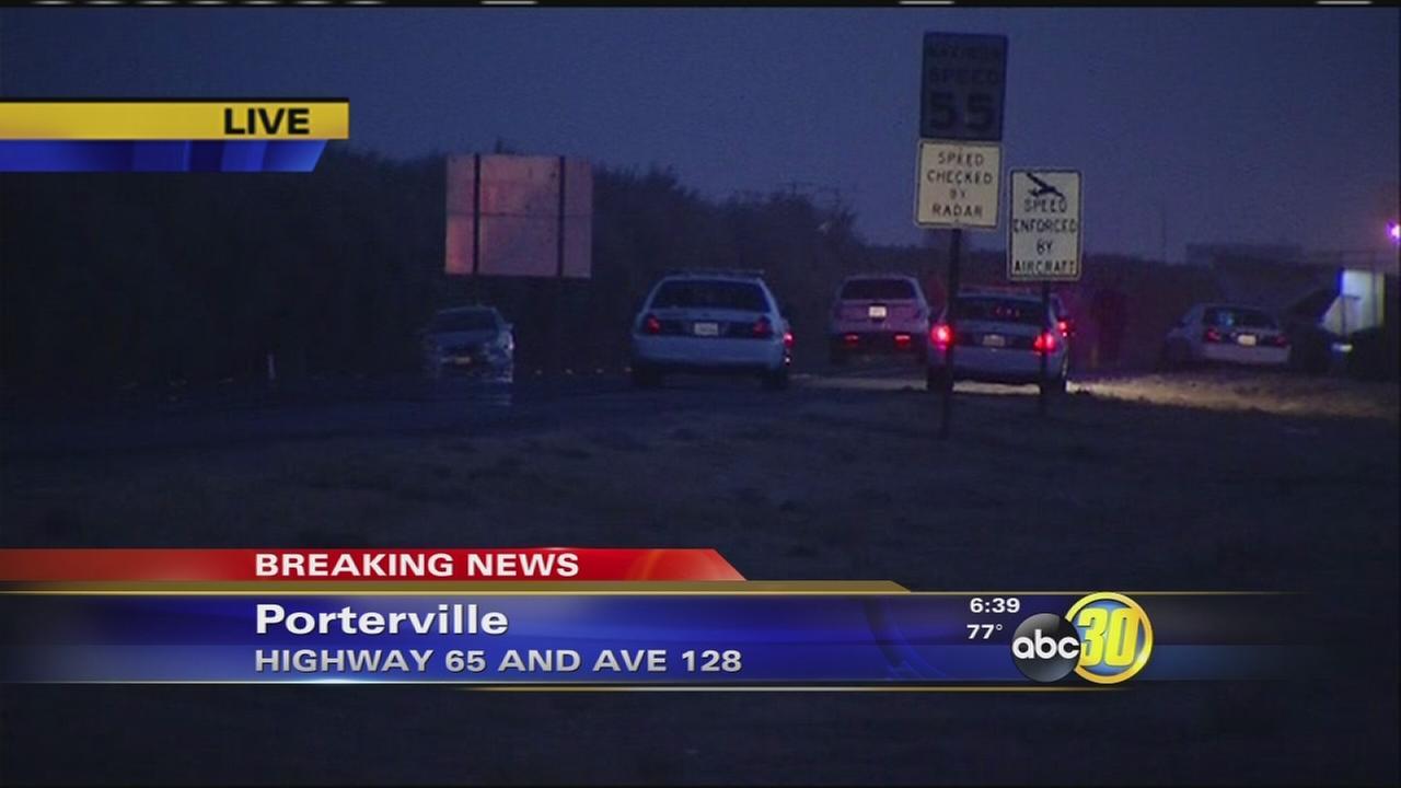 Police investigate a fatal crash in Porterville