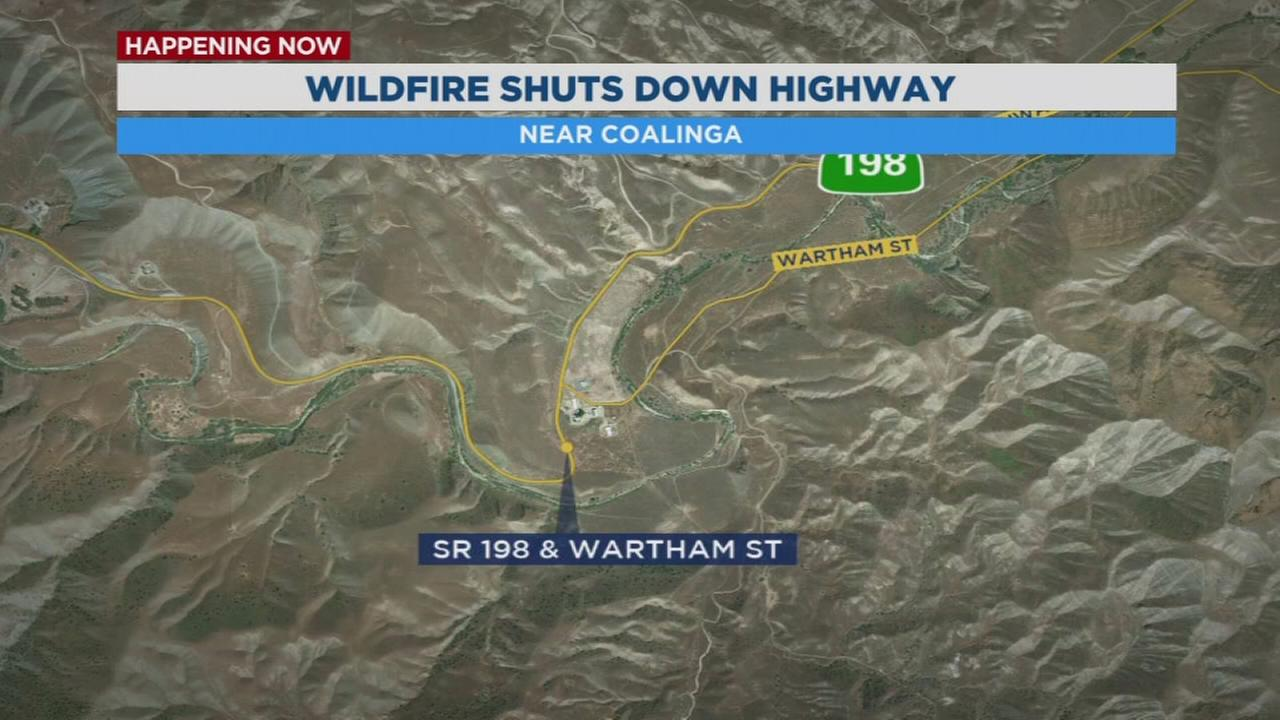 Highway 198 shut down west of Coalinga due to wildfire