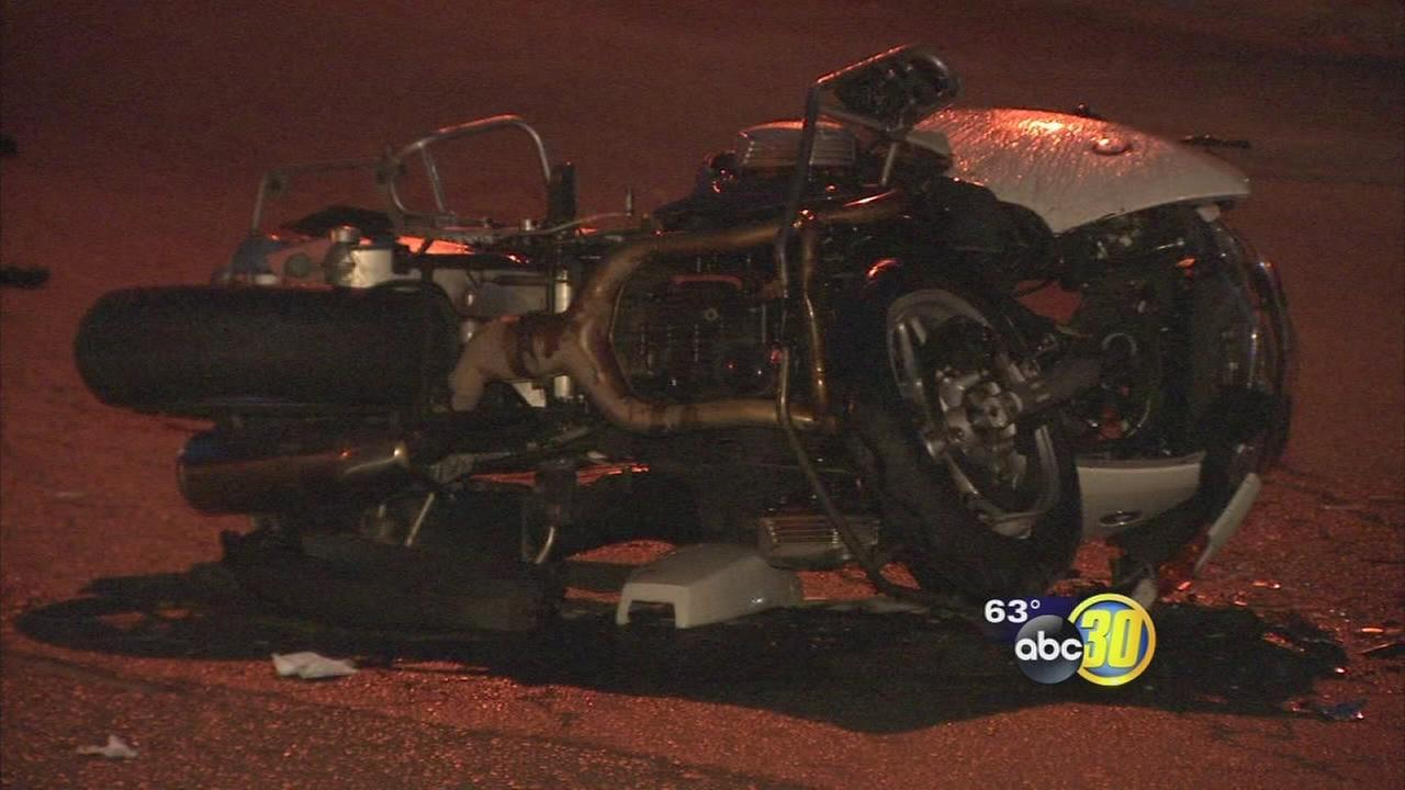 Fresno police officers motorcycle collides with car