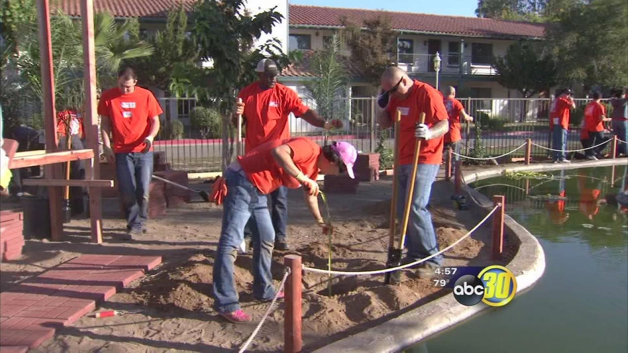 Home Depot volunteers spruced up Fresnos Hacienda Hotel for homeless veterans