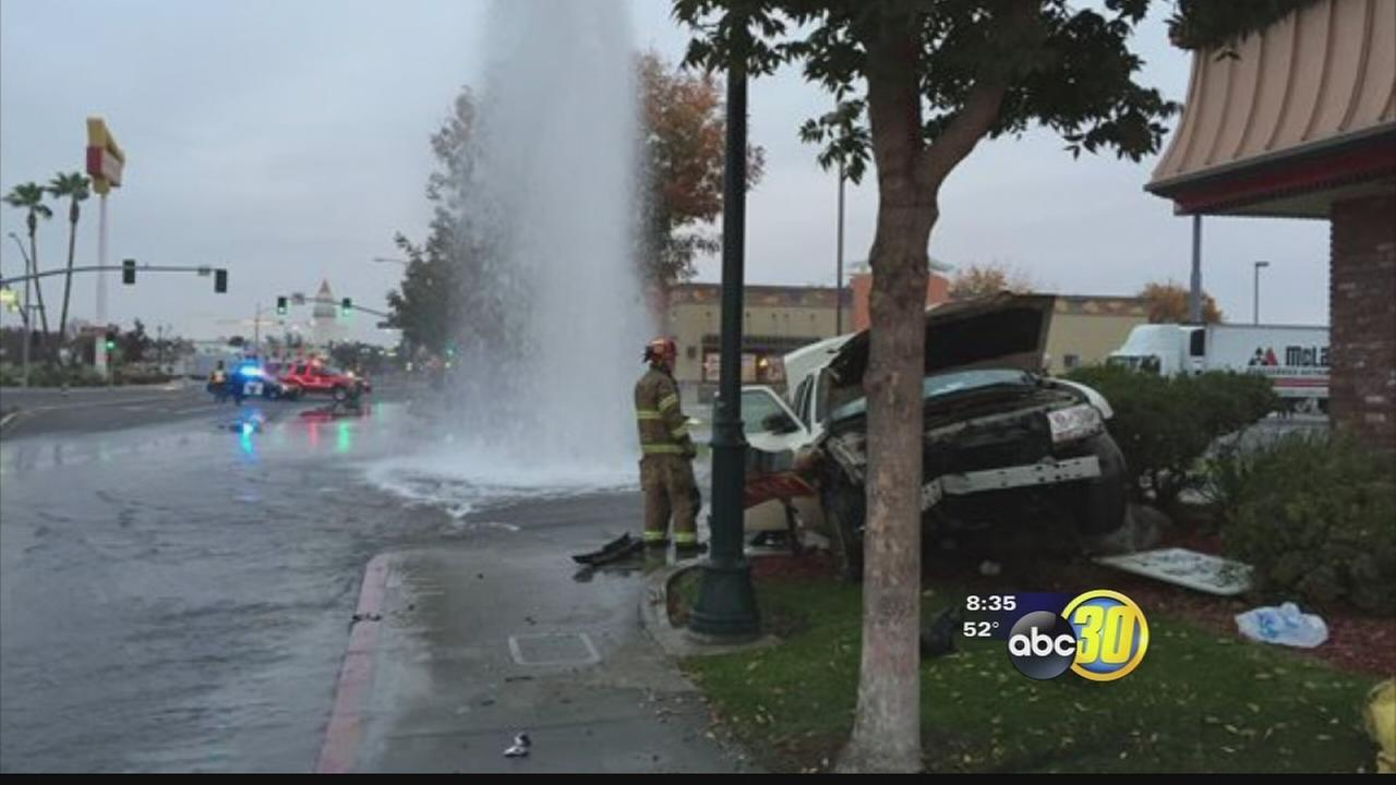 Police: Stolen car slams into fire hydrant in Merced