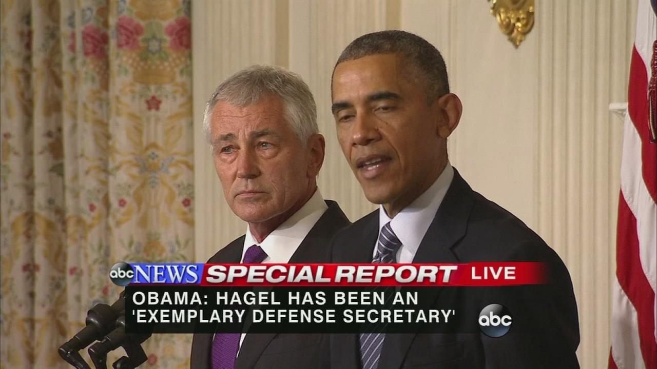 President Obama announced the resignation of Defense Secretary Chuck Hagel