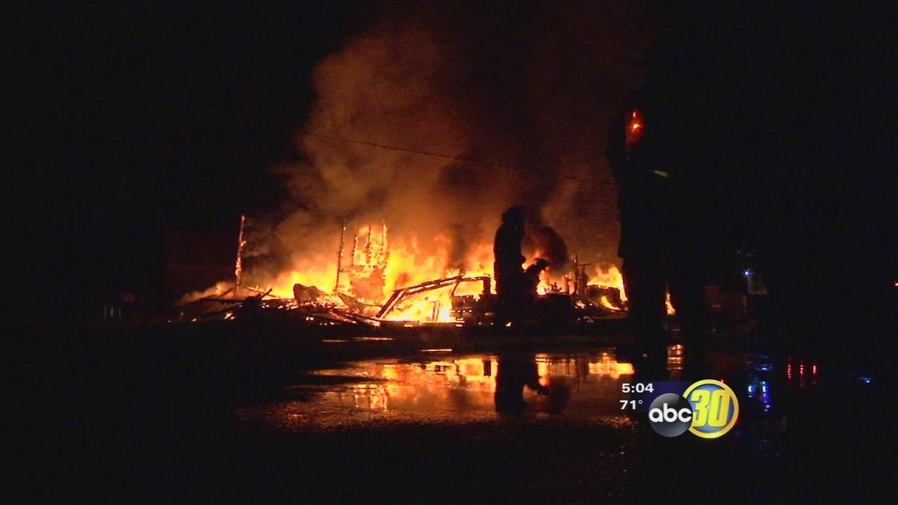 Fire guts abandoned building in Fresno County