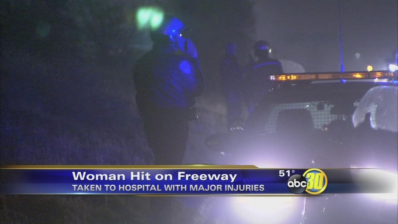 Pedestrian hit by truck crossing Fresno Freeway