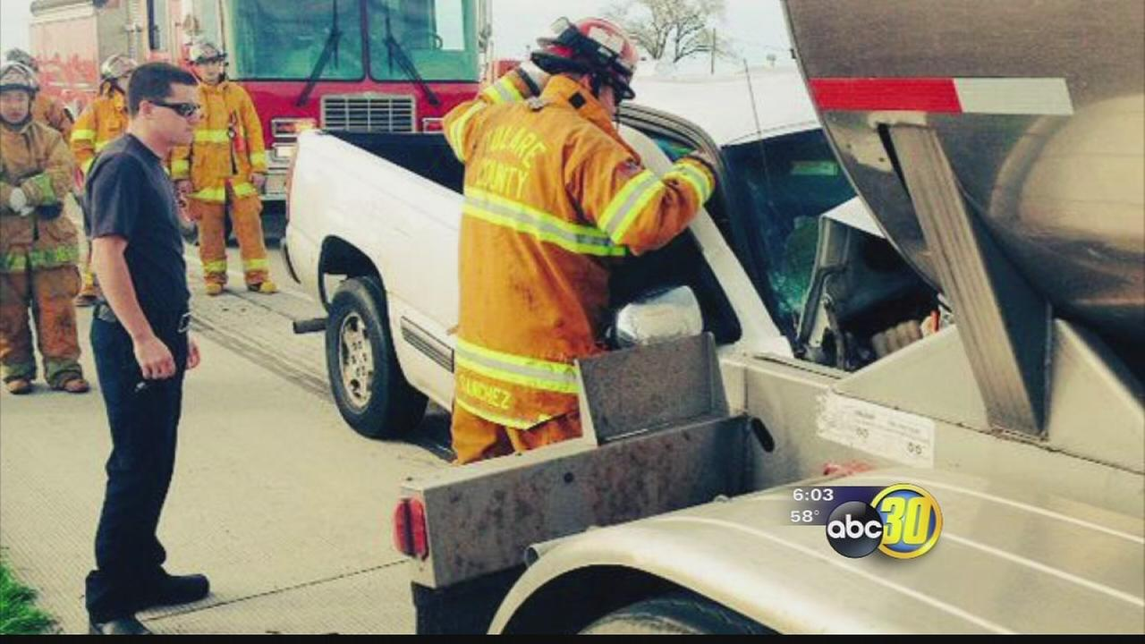 Porterville man dies in crash involving a big rig