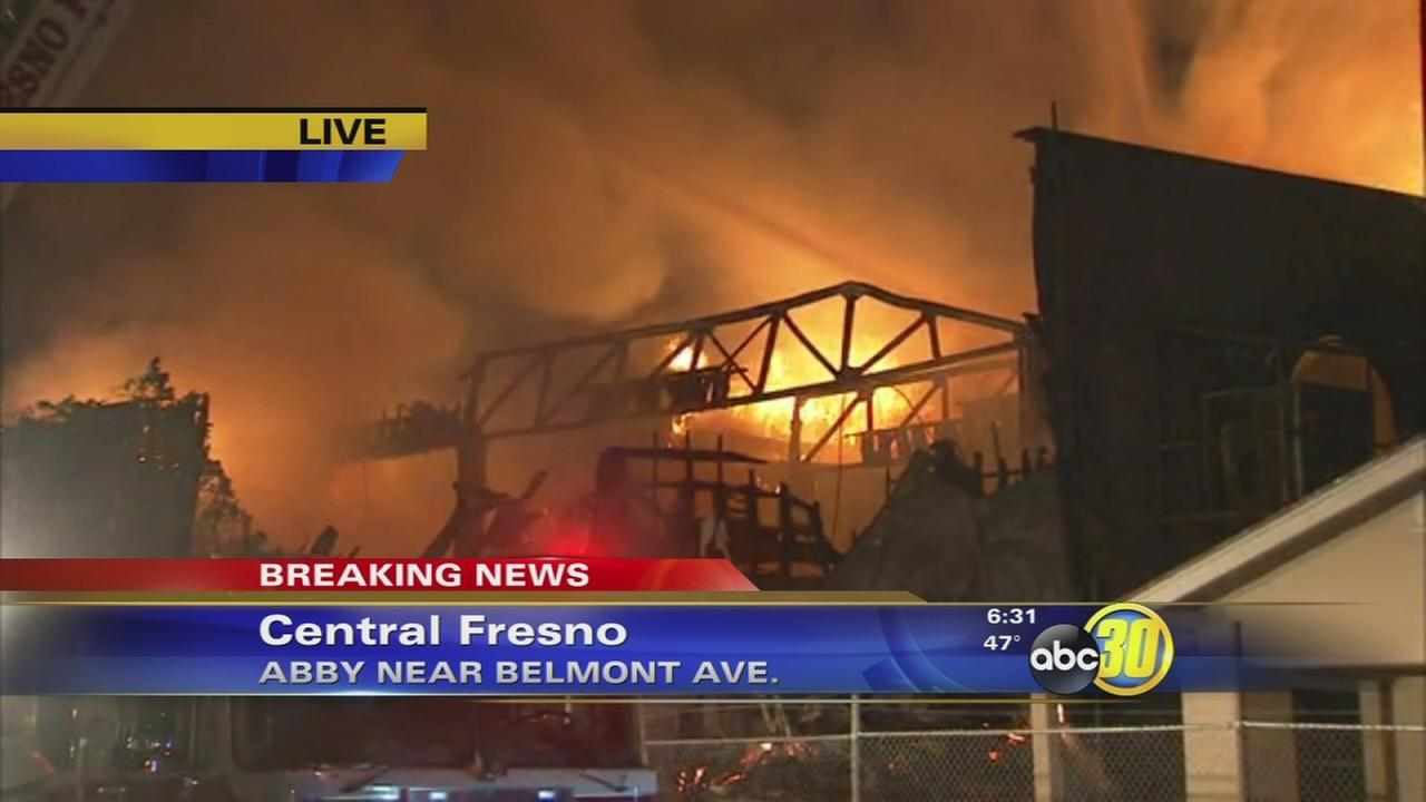 Large fire burning in Central Fresno