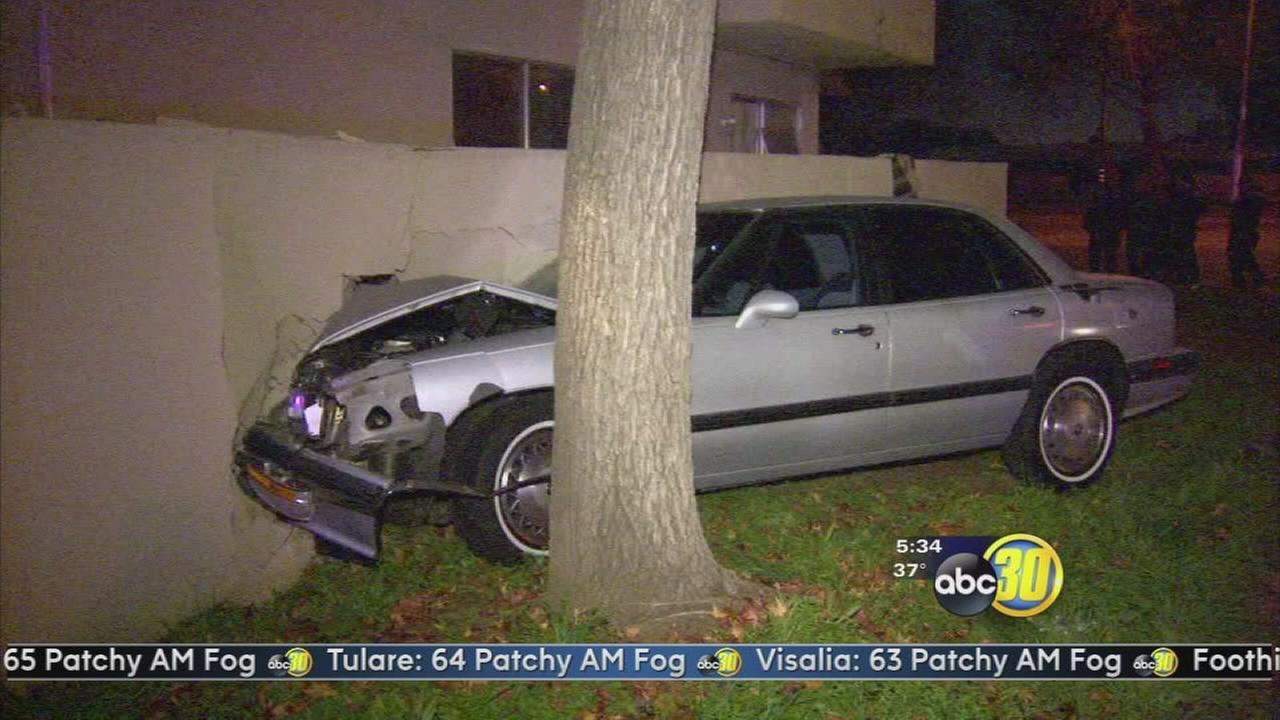 Stolen car crashes into Fresno apartment building
