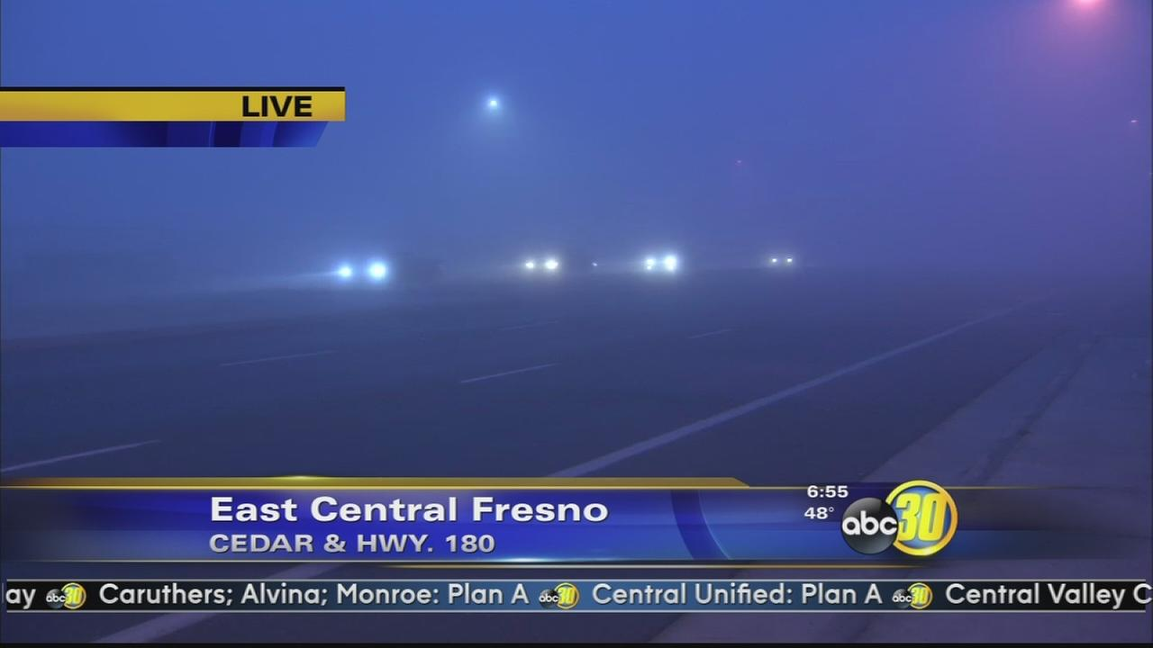 Dense fog blankets Central Valley
