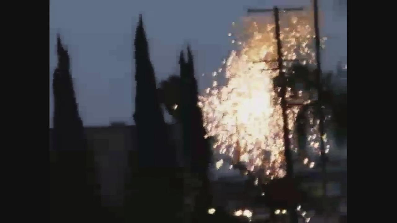 Cell phone video of an electrical transformer blowing in Visalia on Tuesday
