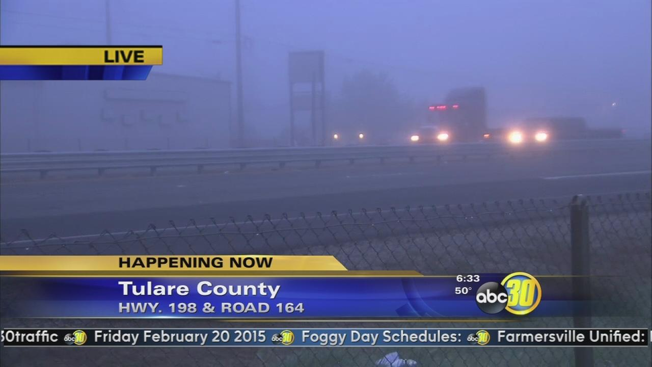 Dense fog rolls into the Central Valley
