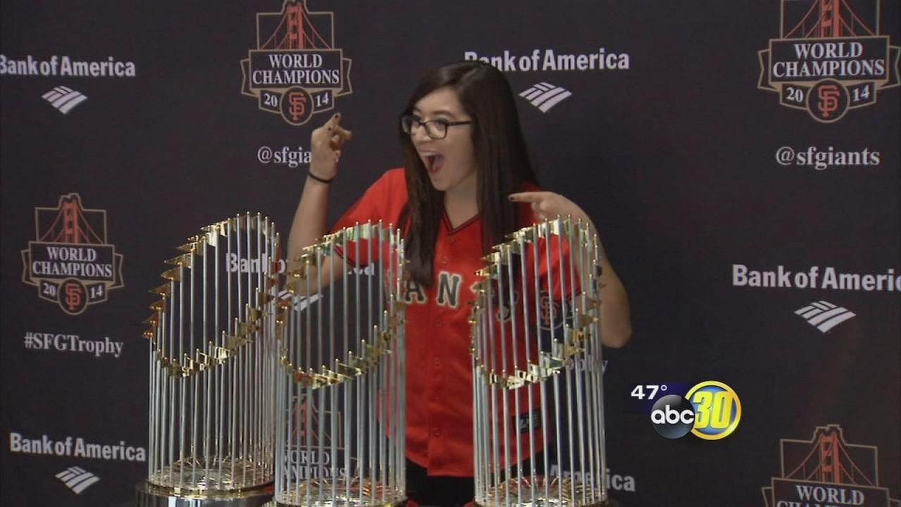 Giants World Series Trophies come to Chukchansi Park