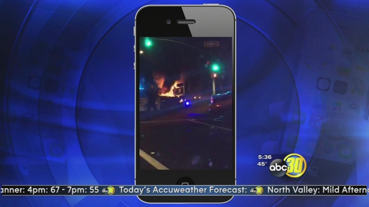 Two injured in fiery Clovis Crash