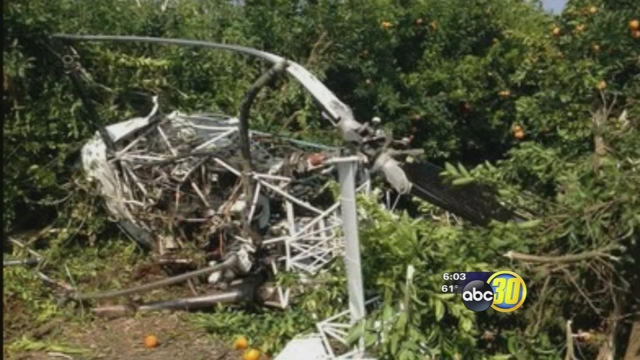 Helicopter crashes in orange orchard near Ivanhoe