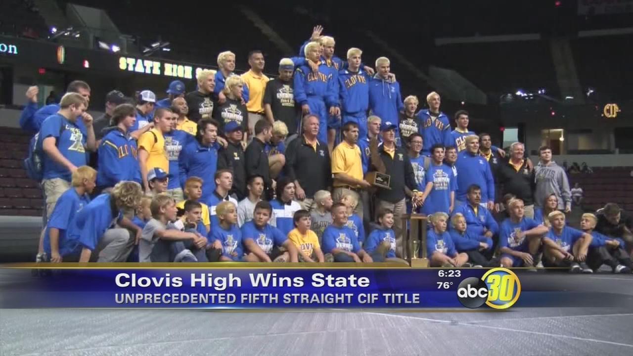 Clovis High School wrestling team wins 5th straight state title